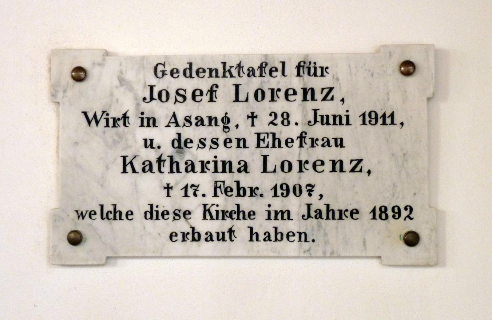Gedenktafel für die Erbauer Josef und Katharina Lorenz